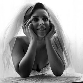 Dreams by Flavian Savescu - Wedding Bride ( , woman, b&w, portrait, person )
