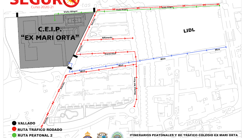 Planillo indicando los diferentes caminos habilitados por el Ayuntamiento y la Policía Local para acudir al centro.