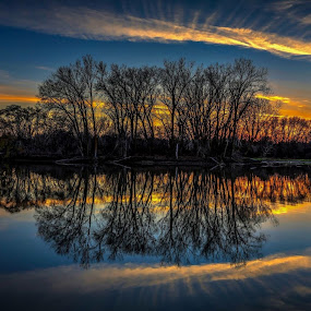 Days gone by by Casey Mitchell - Landscapes Cloud Formations ( water, clouds, sunset, trees, lake, pond,  )