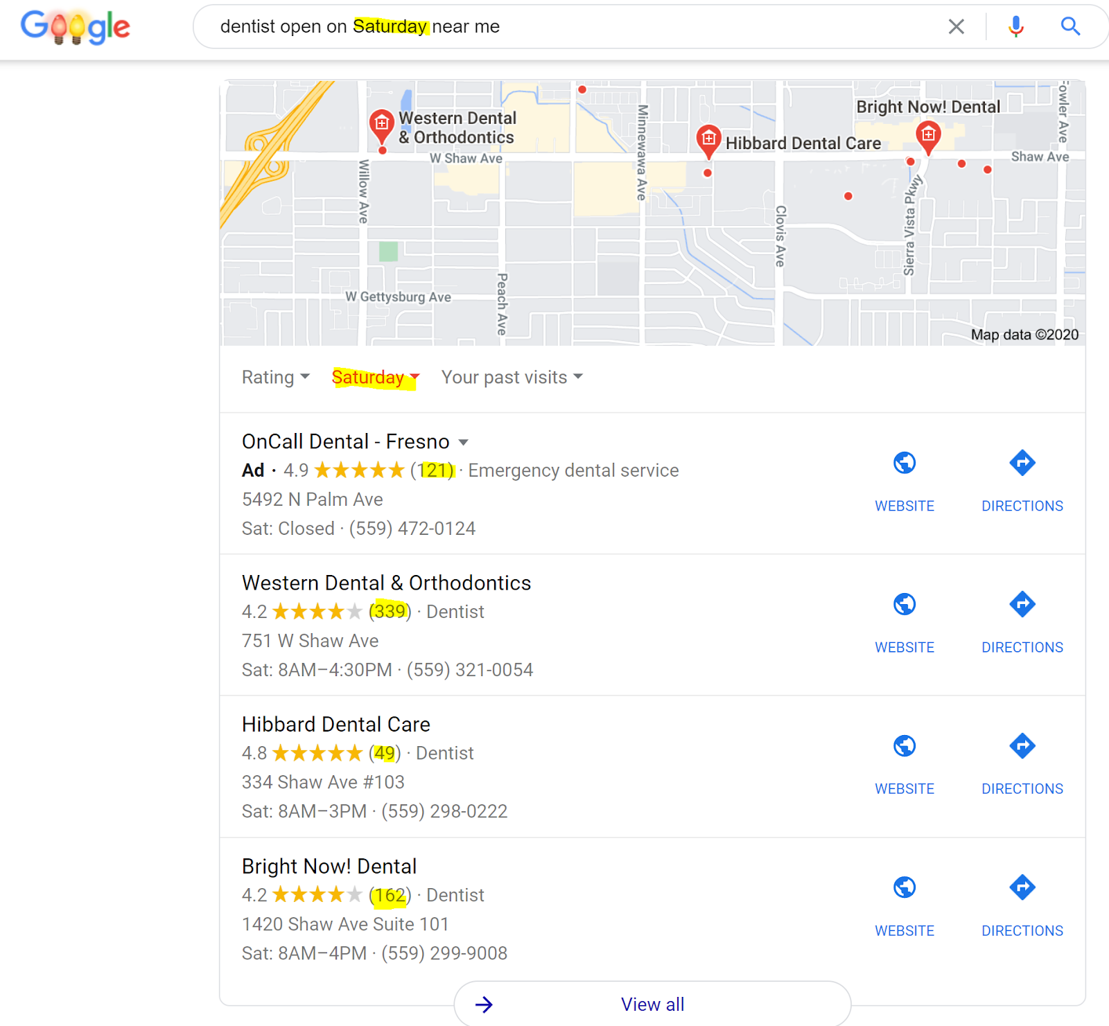 """The image shows the results of a Google Search, """"Dentist open on Saturday near me."""" A range of results are shown for Fresno, California."""