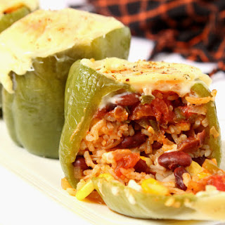 Vegetarian Mexican Style Stuffed Peppers.