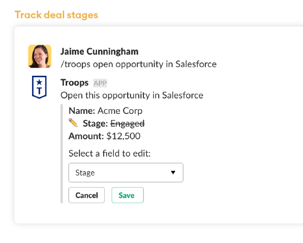 Slack Sample integrations for sales and marketing