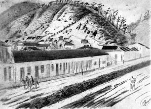 Photo: Rua do Imperador. Nestes barracões ficaram abrigados os primeiros colonos germânicos que vieram colonizar a cidade. Em seu lugar foi construído, na década de 1890, o antigo Fórum. Desenho da década de 1850 de Otto Reimarus