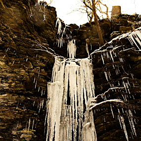 Giant Icicles by Jamie Newton - Landscapes Weather ( limestone, bluffs, winter, icicles, ozarks, storm, arkansas )
