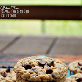 Gluten Free Oatmeal Chocolate Chip Toffee Cookies.