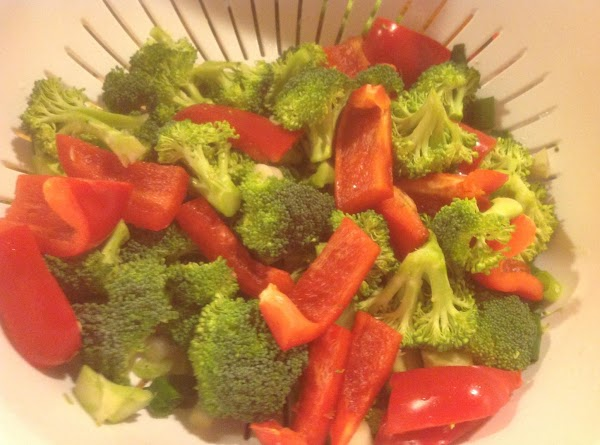 Then add the broccoli flowerets to cabbage along with the red bell pepper strips,...