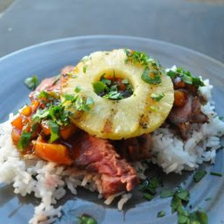 Teriyaki Steak with Grilled Jalapeno and Pineapples Recipe