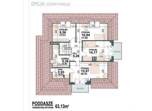 Opałek II N - Rzut poddasza - opcja cztery pokoje