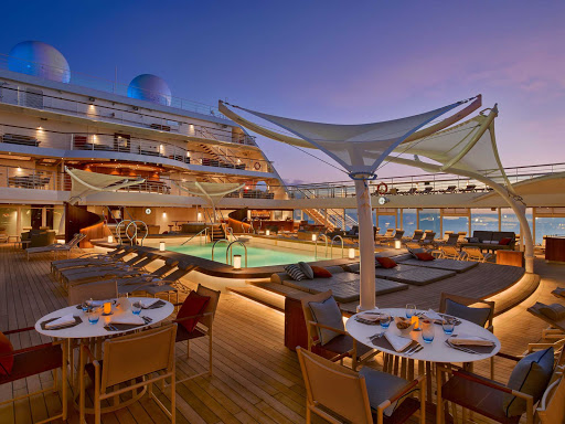The   Pool Deck at dusk on Seabourn Encore.