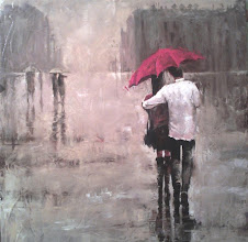 Photo: Ольга Самар, Двое под зонтом, 80х80, масло, холст, мастихин