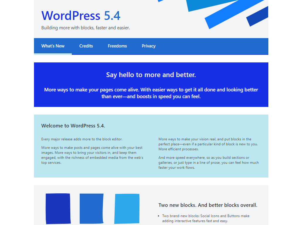 WordPress 5.4 New Welcome Guide