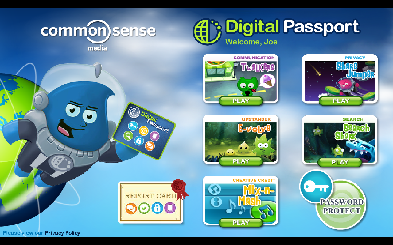 Digital Passport Home screen