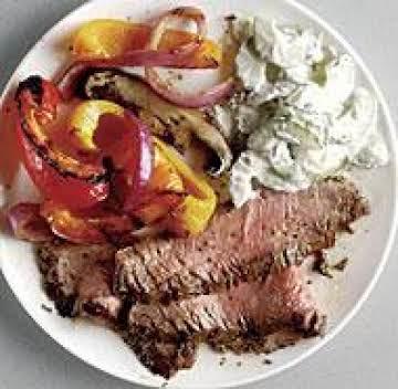 Grilled Flank Steak with Cucumber-Yogurt Sauce