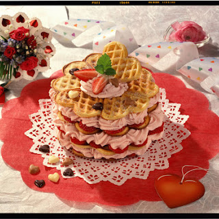 Strawberries and Cream Waffle Tower