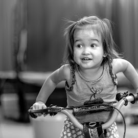 Look At Me by Gary Pore - Babies & Children Children Candids ( toddler, learning to ride, cheeky, black and white, cute, bike )