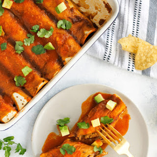 Vegan Enchiladas with Jackfruit and Black Beans.