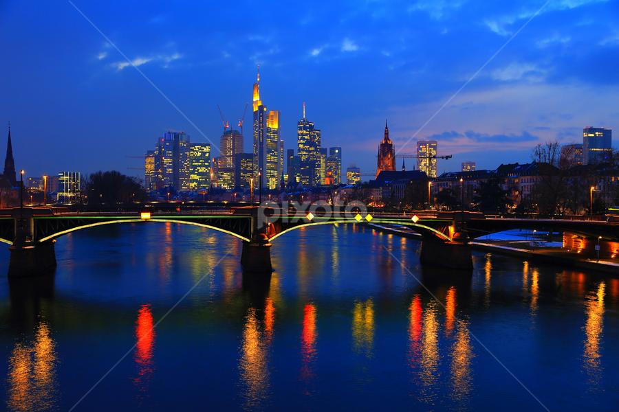 Frankfurt Nite by Esther Pupung - City,  Street & Park  Skylines ( World_is_Blue, night, lights,  )