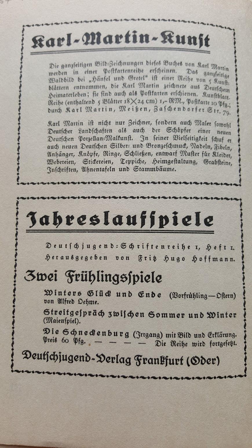 Deutsche Märchen und ihr Deutung, Ein Volksbuch aus der Nazizeit, 1934 - Buchwerbung