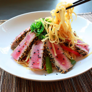 Gluten-Free Sesame Crusted Tuna with Noodles.