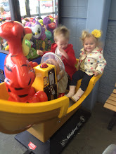 Photo: The both have so much fun, even though The Little Man wont let Baby Girl Barker touch the steering wheel.