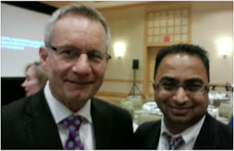 Photo: (L-R) Minister Ed Fast with Husain F Neemuchwala at the CBIE Conference Nov 2013  http://canadaindiaeducation.com/introduction/media-outreach