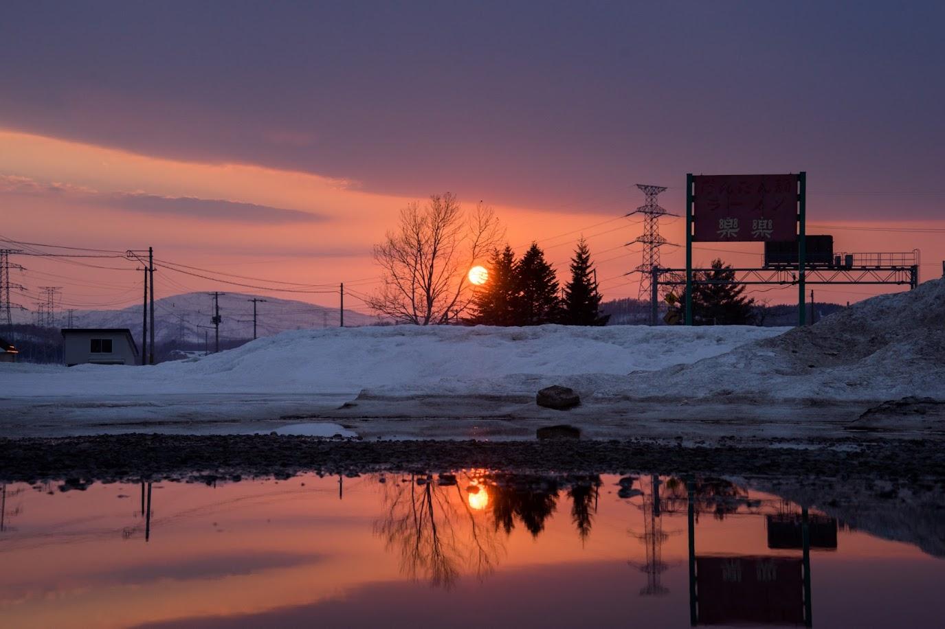 水に写す華麗なる夕陽