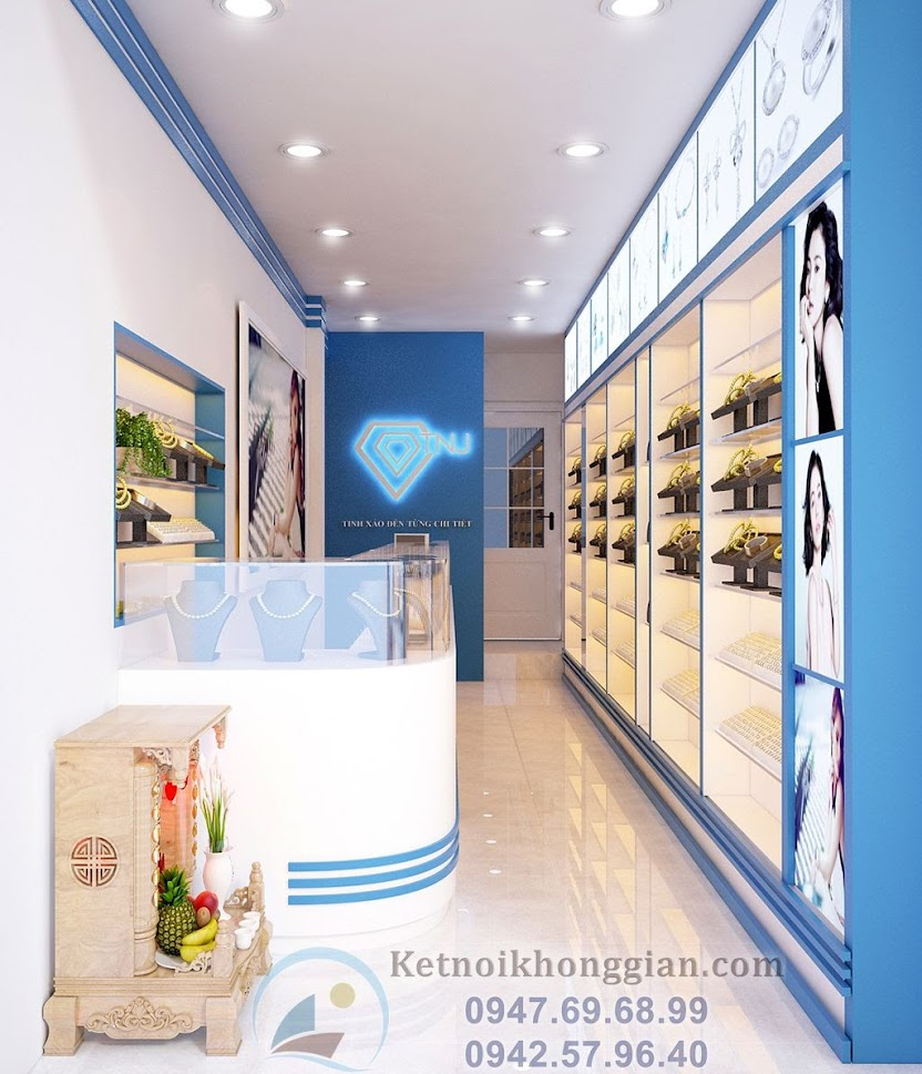 thiết kế cửa hàng trang sức bạc