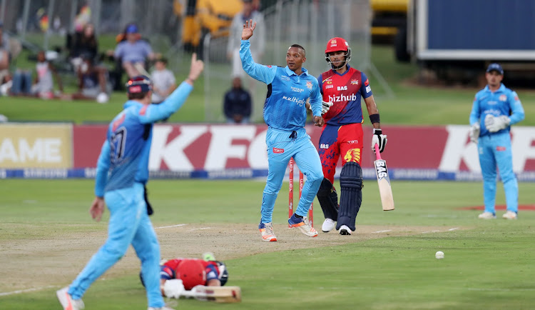 Malusi Siboto of the Titans celebrates after taking a wicket of Wiaan Mulder of the Lions during 2017 T20 Ram Slam match between Multiply Titans and Bizhub Highveld Lions at Supersport Park, Pretoria South Africa on 12 November 2017.