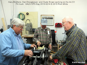 Photo: Gary Brothers, Dan Droogleever, and Clyde Brown working on the ALCO PA truck   HALS OPS Day 2015-0214 © 2015 Rick White