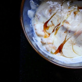 Spiced Yogurt with Peaches and Candied Ginger