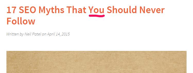 "A screenshot of a headline reading ""17 SEO myths that you should never follow""."
