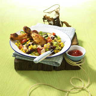 Spiced Chicken Drumsticks with Chopped Salad.
