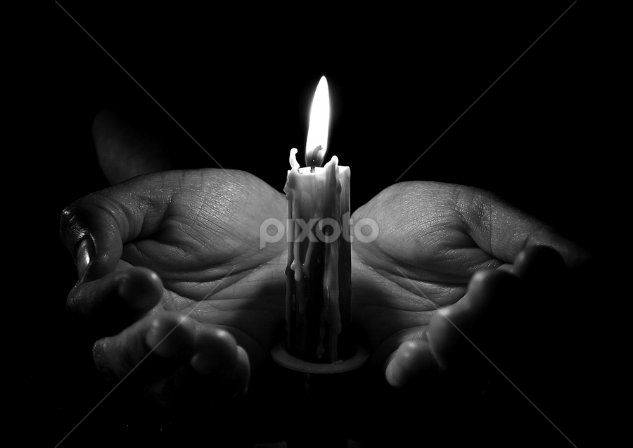 by Dipali S - People Body Parts ( grayscale, candle, black and white, hands, light, pwchandsandfeet )