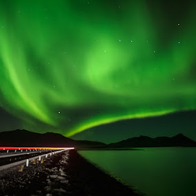 On the road again by Bragi Ingibergsson - Backgrounds Nature ( water, iceland, brin, bragi j. ingibergsson, northern lights, aurora borealis, road )