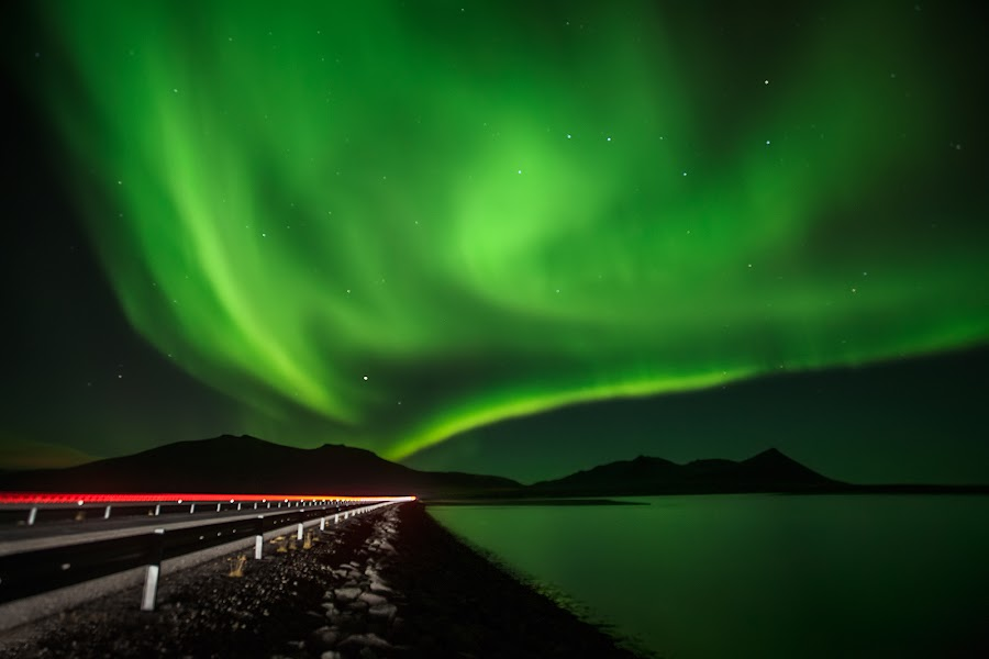 On the road again by Bragi Ingibergsson - Backgrounds Nature ( water, iceland, brin, bragi j. ingibergsson, northern lights, aurora borealis, road )