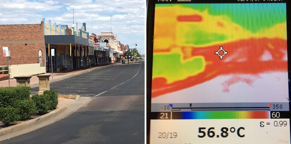 This photo from a thermal imaging camera used for crop monitoring show temperatures in Maitland Street.