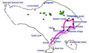 Bali tour map