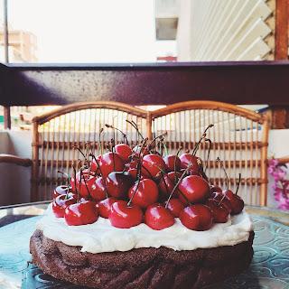 Chocolate Cake With Mascarpone Cream And Cherries