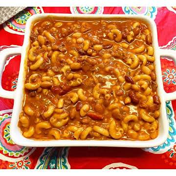 Cheesy Mac and Chili Bean Soup
