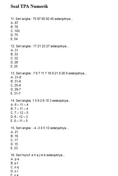 Contoh Soal Psikotes Numerik