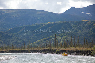 """Photo: White water raft trip down the Tashenshini River. The """"Tat"""" flows out of Yukon, CA, through British Columbia and empties into Glacier Bay National Park in Alaska, US."""