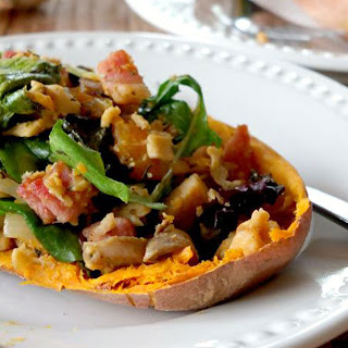 Chicken & Bacon Salad In Sweet Potato Boats