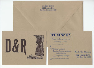 Photo: Rachelle & David's envelope and both sides of reply card. Types used: 14, 18, & 24 pt. P. T. Barnum, 18 pt. Thunderbird Extended, 18 pt. Pacific, and 10 line Runic for their initials.