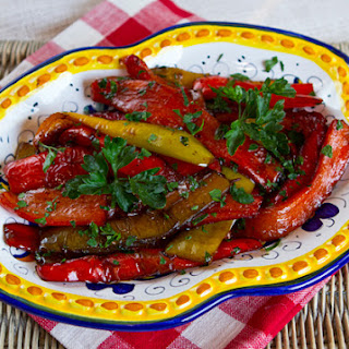 Fried Sweet Peppers With Balsamic Vinegar.