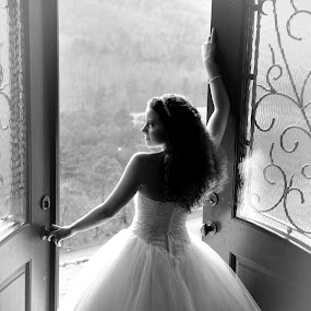 Bride in Thought by Lisa Raith - Wedding Bride ( pwcopendoors-dq )