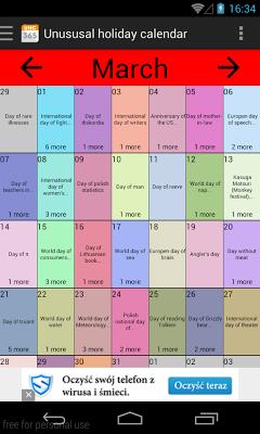 Unusual holiday calendar - screenshot