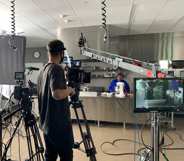 A videographer filming a chef in the Innovation Kitchen in Mitchell Hall @ Columbus State Community College.