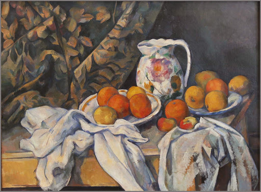 "paul-cezanne-still-life-with-drapery.jpg -  Paul Cezanne, ""Still Life With Drapery,"" 1894-85, oil on canvas, at the Hermitage in St. Petersburg, Russia."