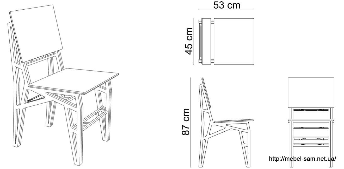 А это чертежи с размерами фанерного стула