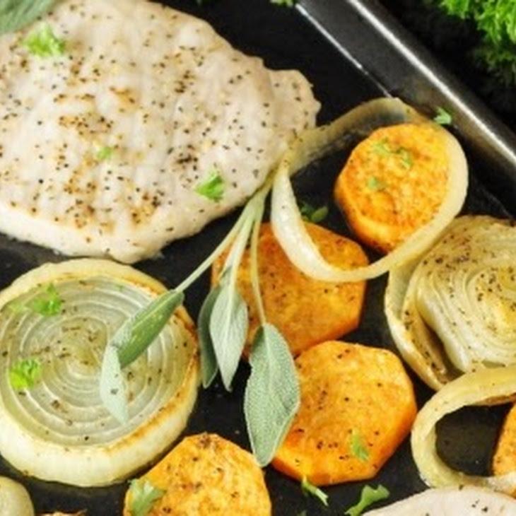 Baked Pork Chops & Sweet Potatoes Sheet Pan Supper (Printable recipe)